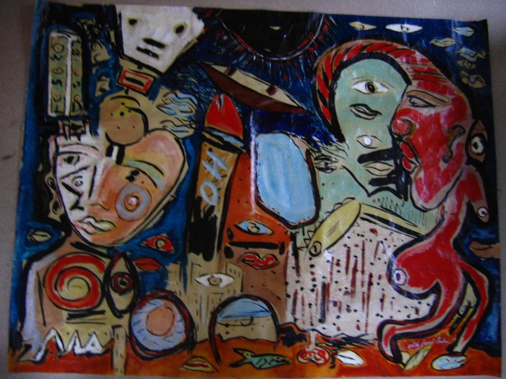 """""""La rue des songes """" signé face  technique mixte sur papier contrecollé sur aluminium + châssis  115 x 150 cm  (VENDU)"""